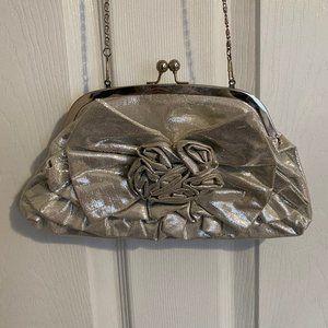 Aldo Silver Rosette Bow Clutch